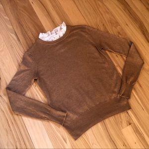 ZARA size small brown ruffle lace neck sweater